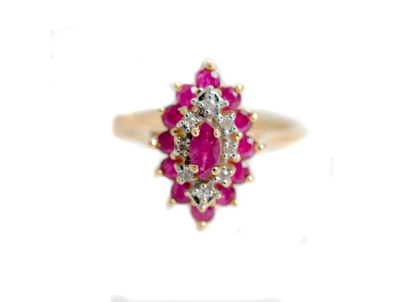 Ruby & Diamonds Ring Marquise shaped 14K Yellow Gold Women's Size 6