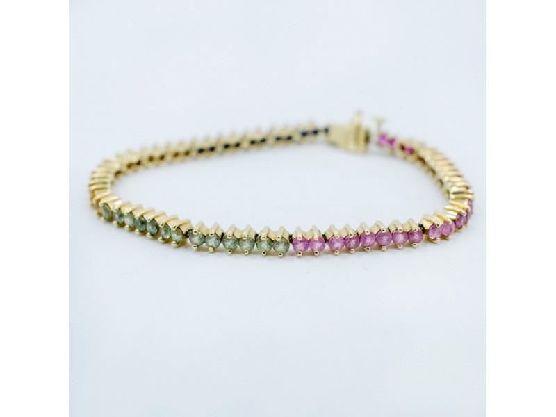 Yellow Gold Emerald, Ruby, Sapphire Womens Bracelet