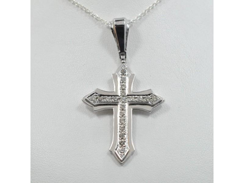 Diamond Cross 0.60Ct Pave Setting 14K White Gold