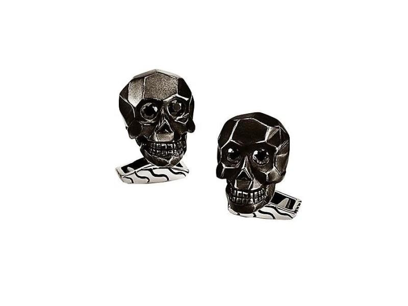 John Hardy Sterling Silver With Black Sapphire Eyes Skull Cufflinks