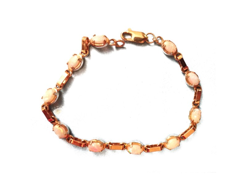 14K Yellow Gold Fire Opal Bracelet