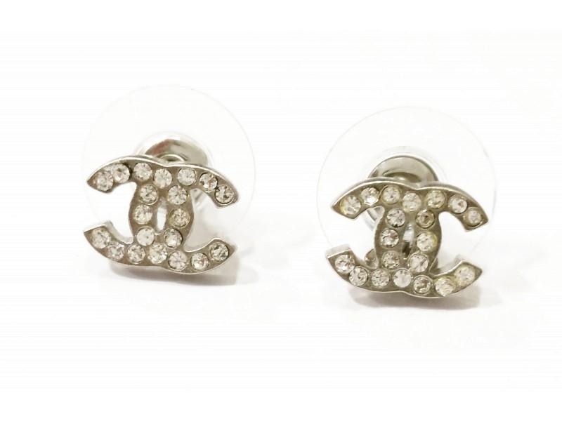 Chanel CC Small Rhinestone Piercing Earrings