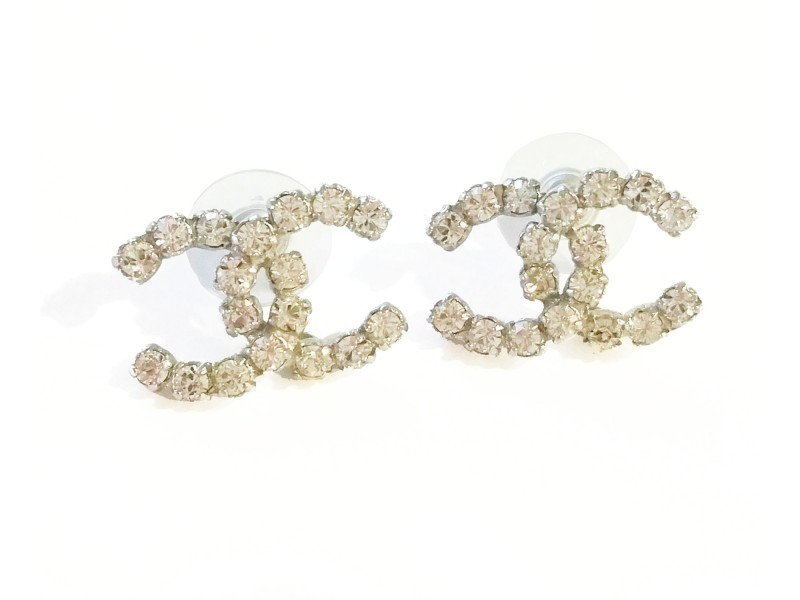 Chanel CC Rocky Super Shiny Rhinestone Piercing Earrings