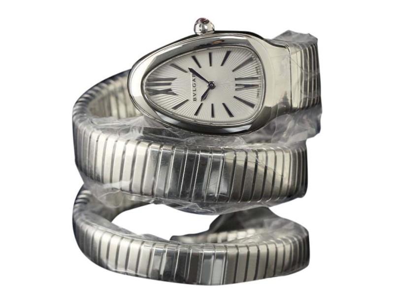 Bulgari Serpenti SP35C6SS.2T Steel Silver Dial Quartz 35mm Watch