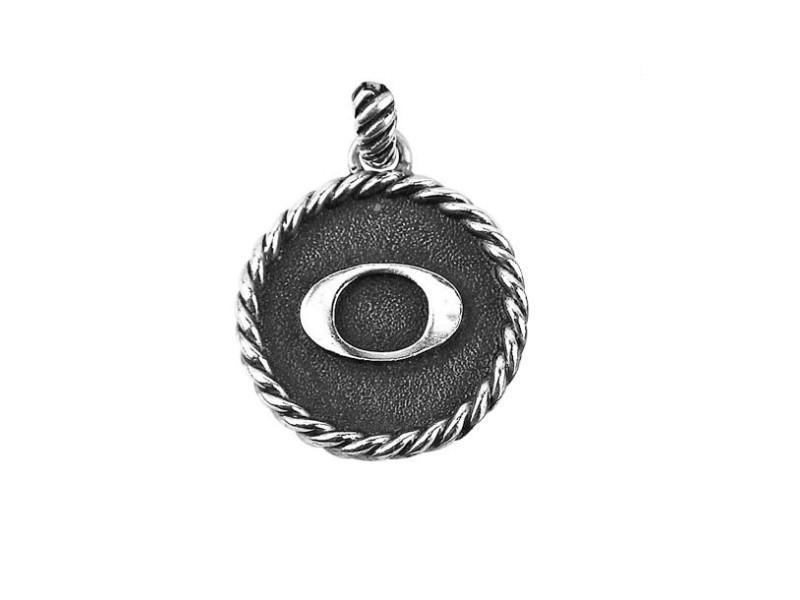 "David Yurman 925 Sterling Silver Initial ""O"" Round Pendant"