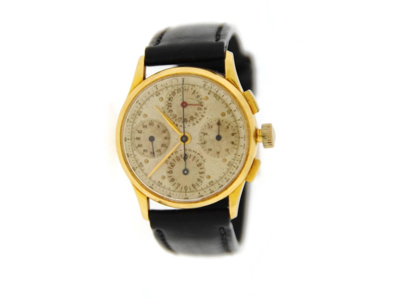 Vintage Universal Geneve Dato Compax 12495 18K Yellow Gold & Leather Manual 34.5mm Mens Watch