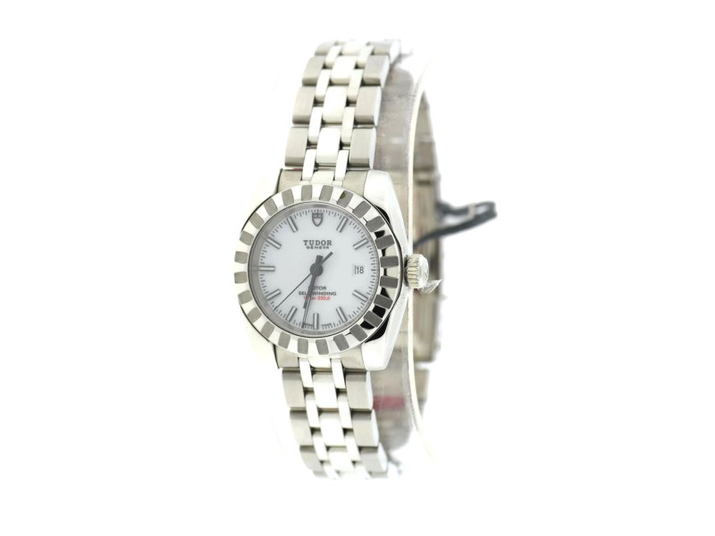 Tudor 22010 Classic White Dial Stainless Steel Automatic 28mm Womens Watch