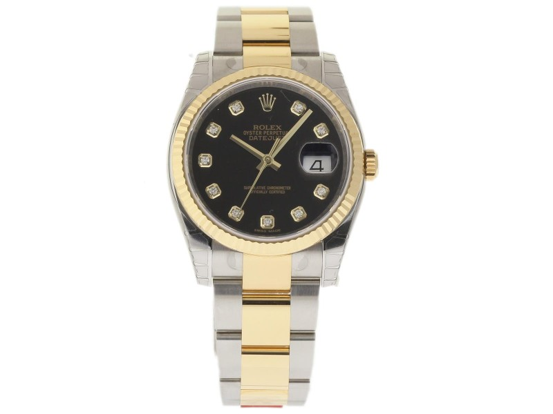 Rolex Datejust 116233 Stainless Steel & 18K Yellow Gold Black Dial 36mm Mens Watch
