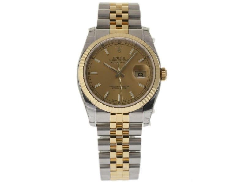 Rolex Datejust 116233 Stainless Steel & 18K Yellow Gold Champagne Dial 36mm Mens Watch
