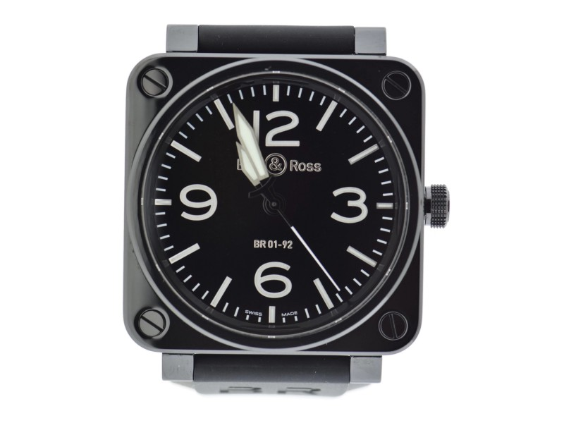 Bell & Ross Aviation BR 01-92 Black Ceramic & Rubber Automatic 46mm Mens Watch