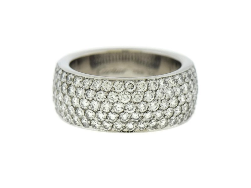 Cartier 18K White Gold 1.88ct. Pave Diamond Ring Size 6.25