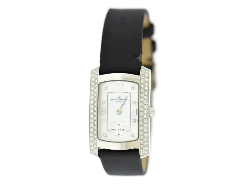 Baume & Mercier Hampton Milleis MOA08145 18K White Gold & Leather Quartz 22mm Womens Watch