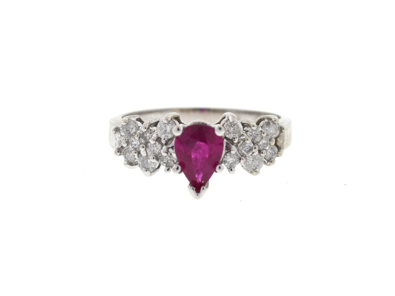 14K White Gold Ruby & Diamonds Ring Size 7.25