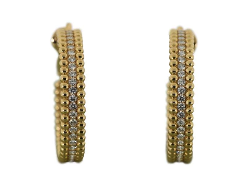 Van Cleef & Arpels Perlee 18K Rose Gold Diamond Hoop Earrings