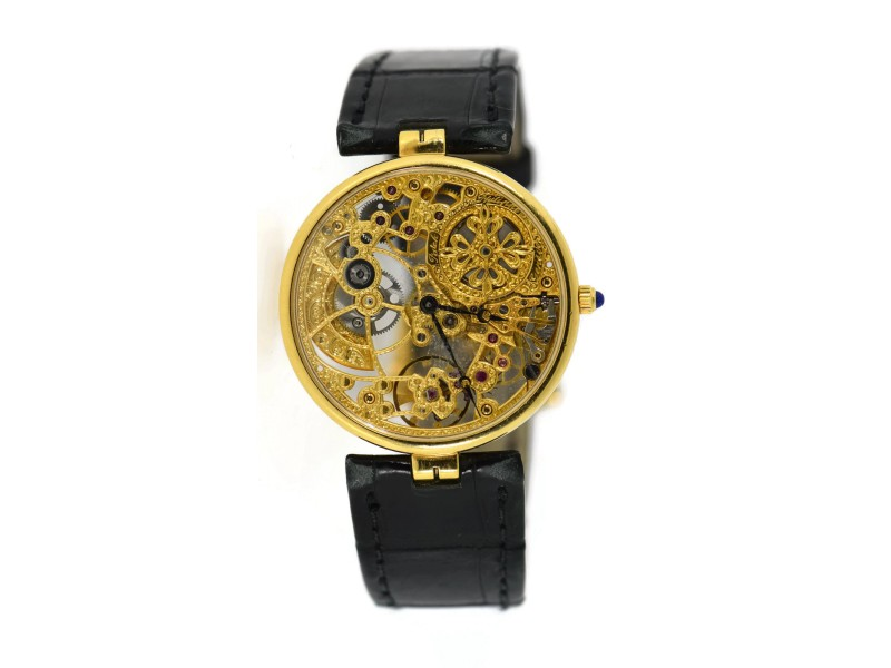 Patek philippe skeleton 3878j 18k yellow gold leather automatic 31mm mens watch patek for Patek philippe skeleton