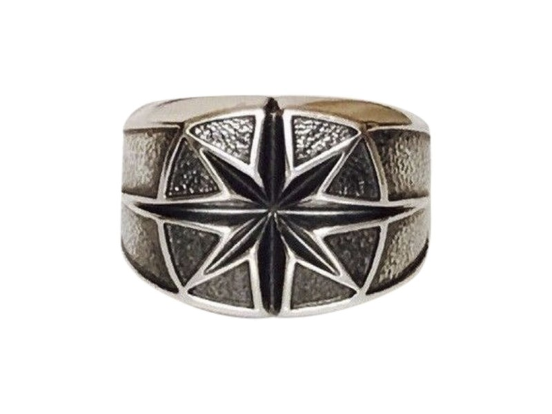 David Yurman Sterling Silver Maritime North Star Signet Ring Size 9.5