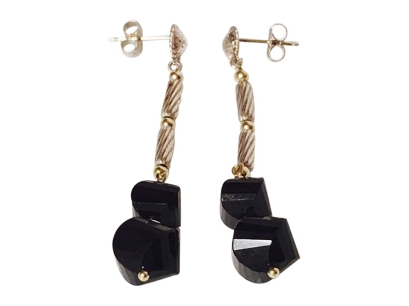 David Yurman Sterling Silver and 18K Yellow Gold with Black Onyx Drop Earrings