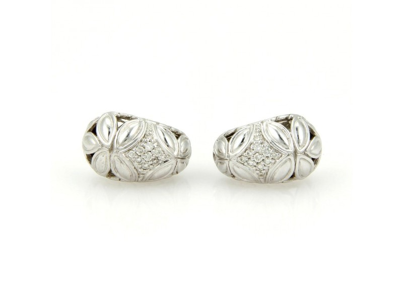 John Hardy Kawun Buddha Belly Sterling Silver Diamond Earrings