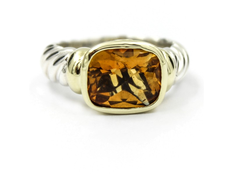 David Yurman Cable Classics 925 Sterling Silver and 14K Yellow Gold with Citrine Ring Size 6