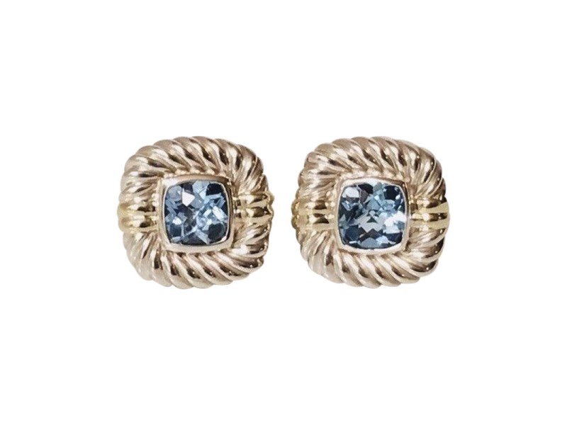 David Yurman Classic Cable Sterling Silver and 14K Yellow Gold with Blue Topaz Earrings