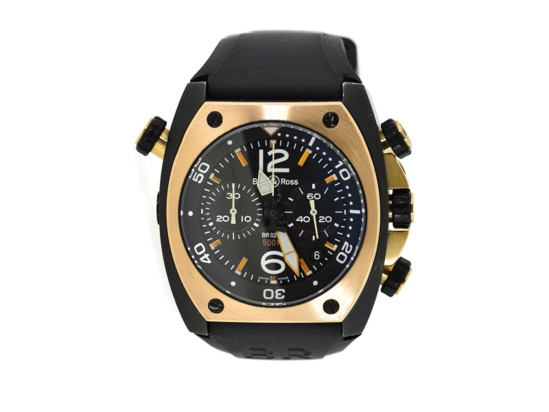 Bell & Ross Marine Chronograph 18K Rose Gold/PVD Steel Watch BR03-94