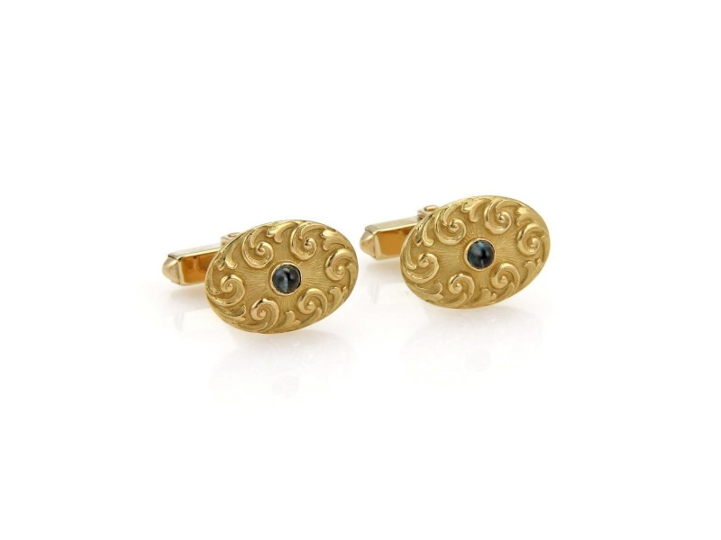 Tiffany & Co. 18K Yellow Gold & Blue Sapphires Oval Vintage Cufflinks