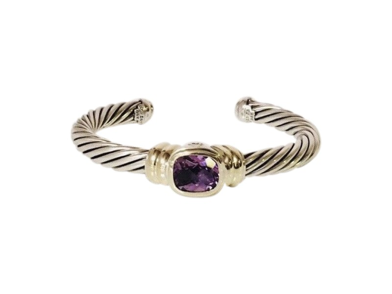David Yurman 925 Sterling Silver & 18K Yellow Gold Amethyst Noblesse Cable Bracelet