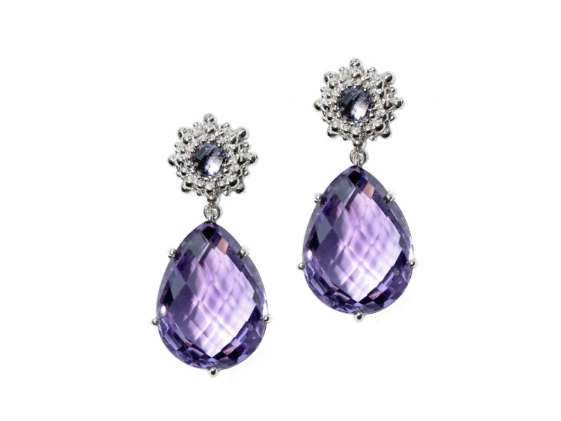 Anzie Sterling Silver Iolite, Amethyst Earrings
