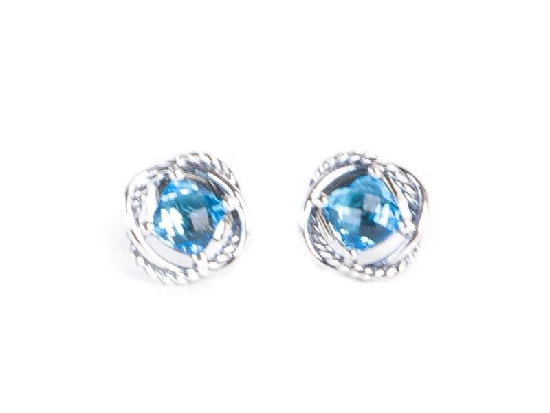David Yurman Infinity 925 Sterling Silver with Topaz Earrings