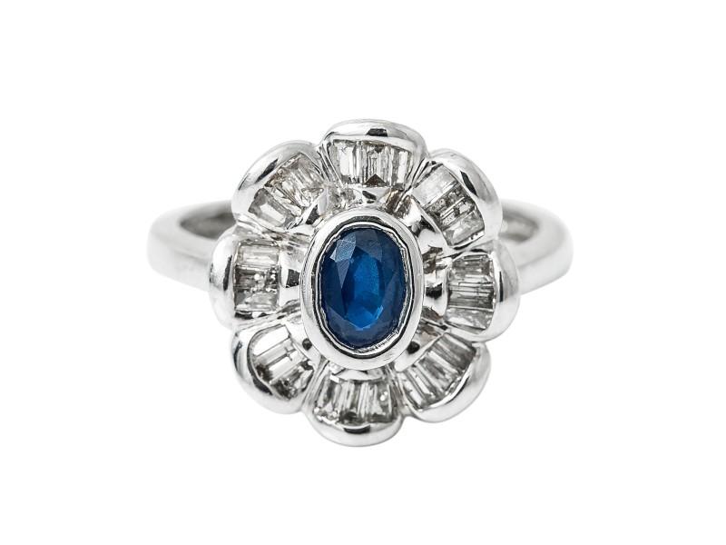 14K White Gold 0.50Ct K SI3 Baguette Diamond Sapphire Ring 3.9 Gr Ring Size 6.75