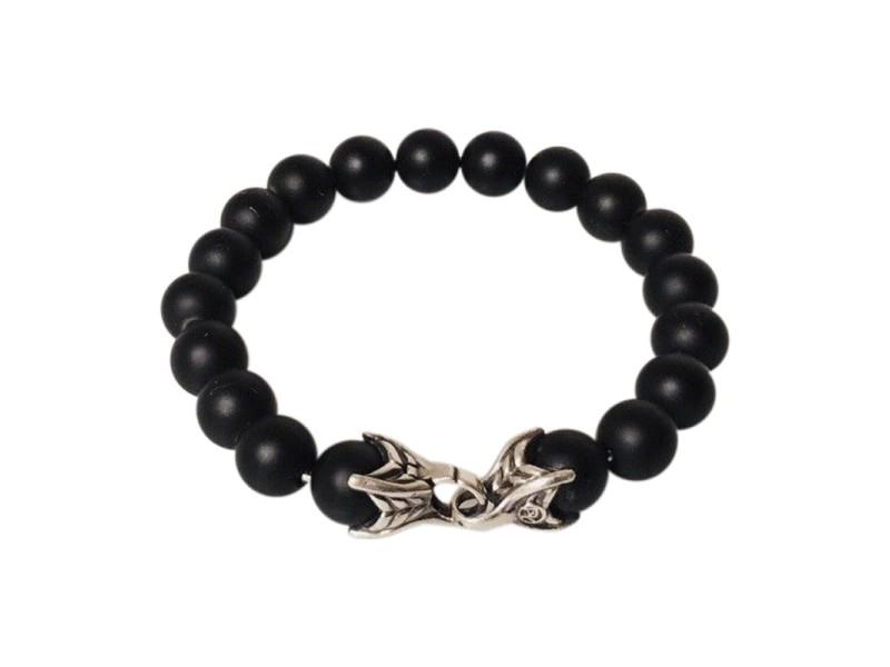 David Yurman Sterling Silver Onyx Bracelet