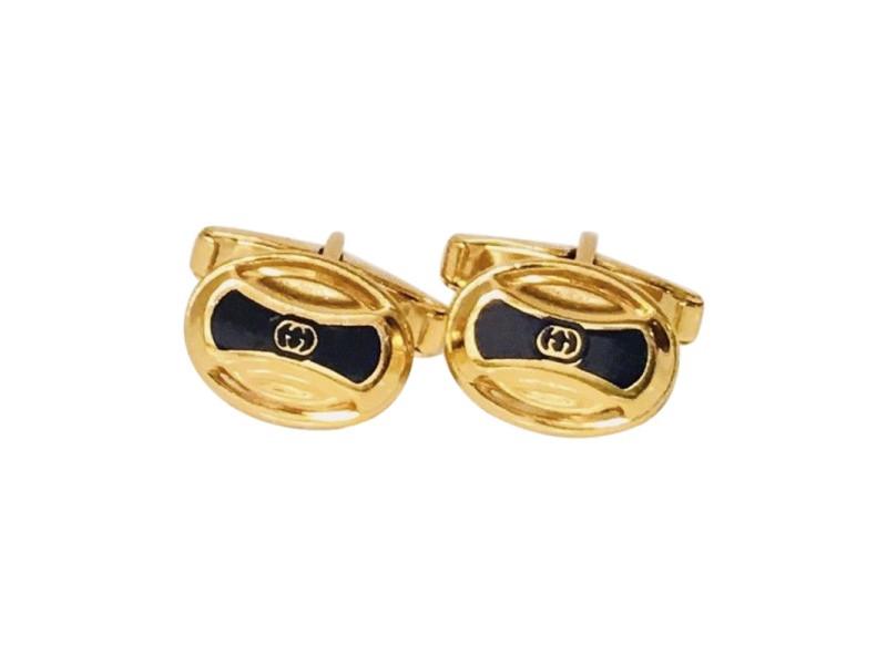 Gucci GG Gold Tone Enamel Vintage Cufflinks