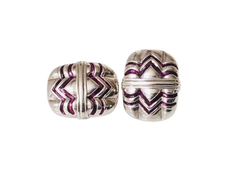 Gucci Sterling Silver Enamel Vintage Earrings