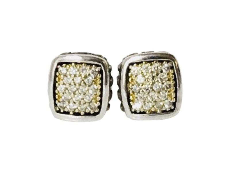 Lagos Caviar 18K Yellow Gold Sterling Silver Diamond Earrings