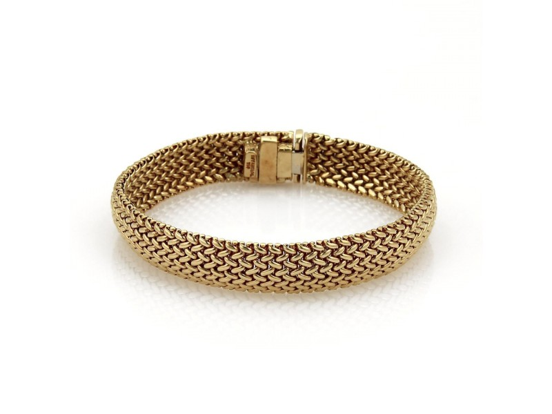 Tiffany & Co. 18K Yellow Gold Wide Woven Flex Bracelet