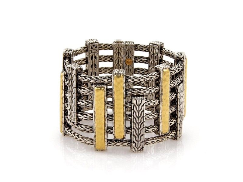 John Hardy Sterling 18K Yellow Gold 925 Sterling Silver Bracelet