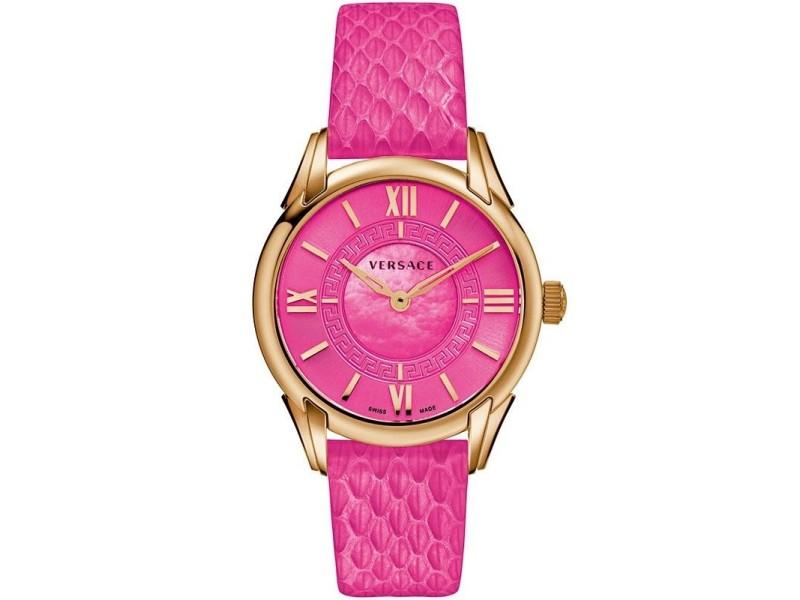 Versace Dafne VFF07 0013 Gold Tone Hot Pink Quartz 33MM Watch