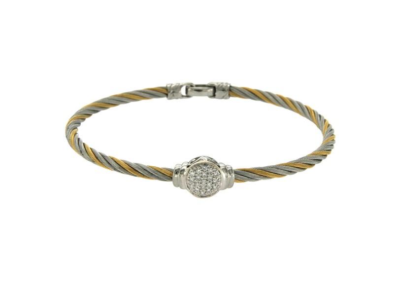 "Philippe Charriol 18k Gold & Tow Tone Steel 0.22 CT Diamonds Cable Bracelet 7"""