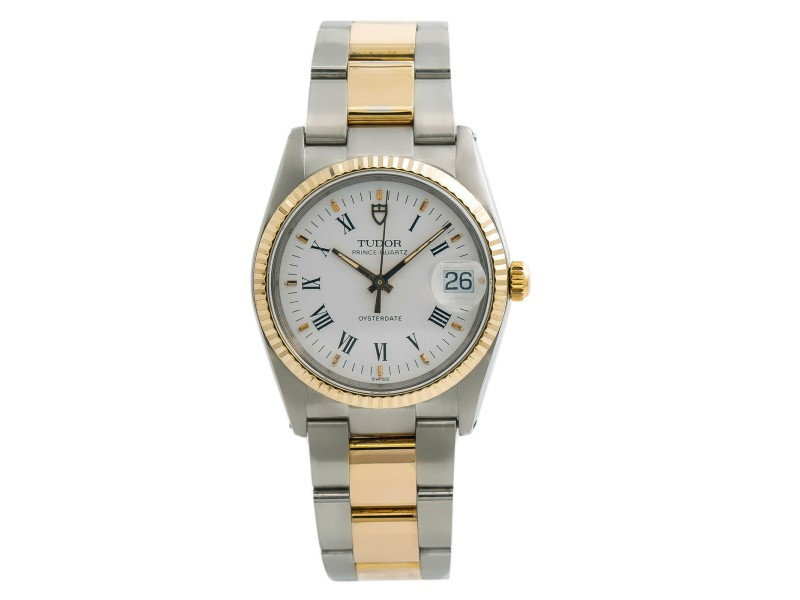 Tudor Prince 91533 Men's Quartz Watch Stainless Steel & Gold Plated 34MM