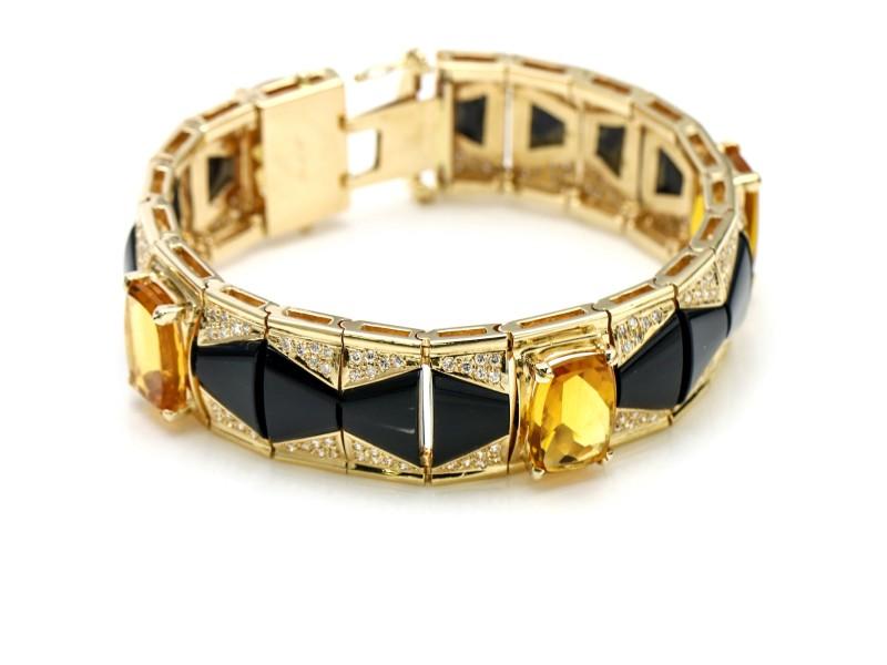 14k Yellow Gold Citrine Onyx Diamond Bracelet
