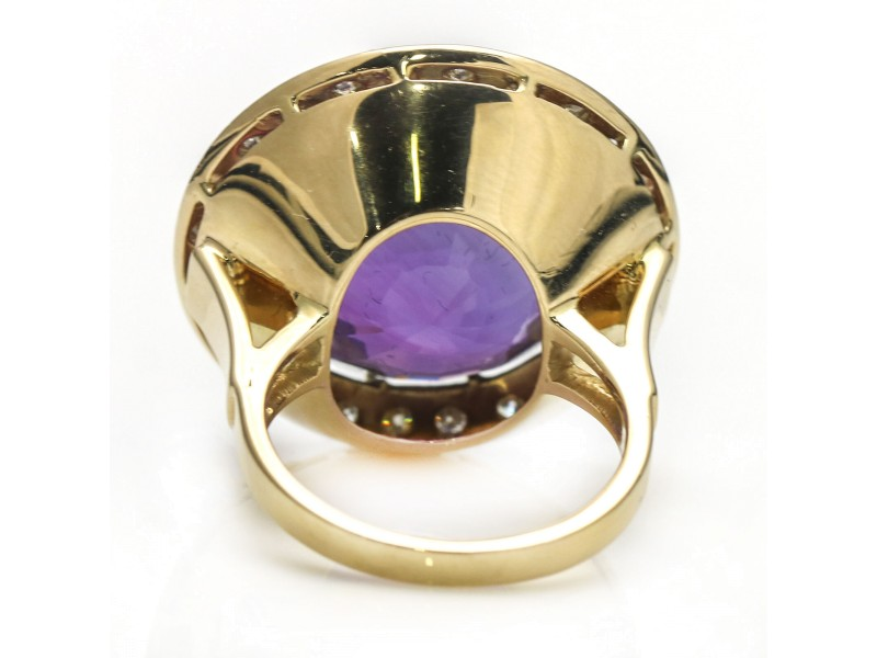 1.25 Carat 14k Yellow Gold Diamond Amethyst Dinner Ring