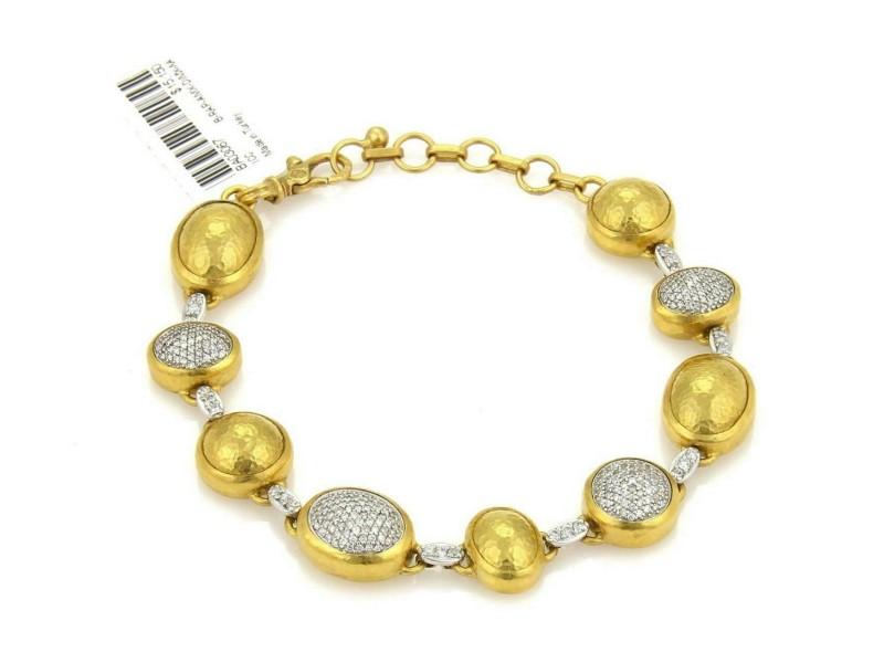 Gurhan 2.12ct Pave Diamond 24k Gold 18k Gold Amulet Bracelet