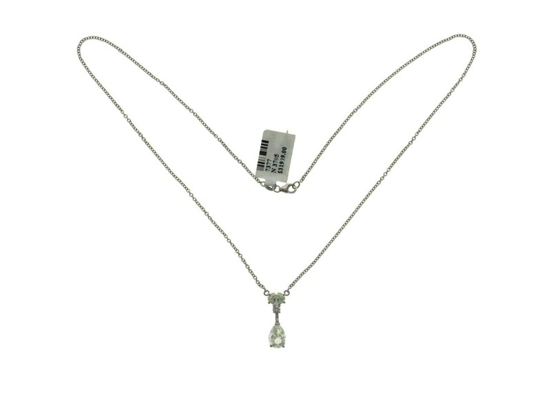 "14K White Gold 2.01 CT Diamonds Tear Drop Necklace 18"""