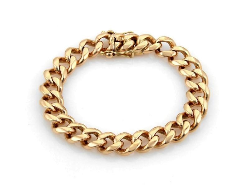 Estate 18k Rose Gold Curb Link 11mm Wide Bracelet - 75gr