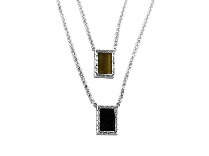 JOHN HARDY ST.SILVER CLASSIC CHAIN TIGER EYE BLACK ONYX DOUBLE NECKLACE