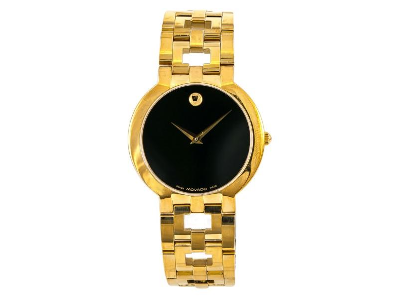 Movado Esperanza 8419861 Mens Watch Quartz Gold Plated 32mm
