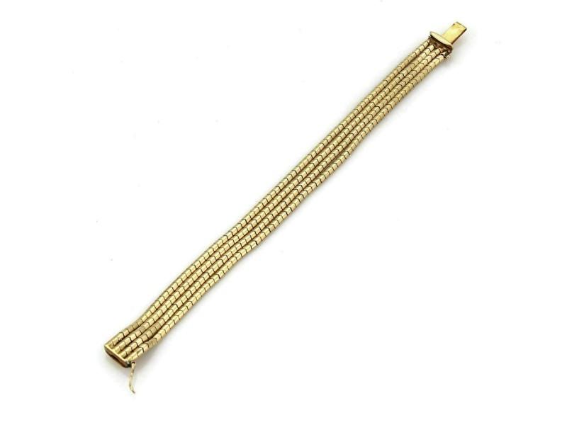 """Multi Strand 18k Yellow Gold Bracelet 6.75"""" Long"""