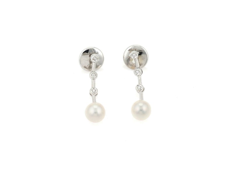 Salvini Diamond & Pearls 18k White Gold Dangle Earrings