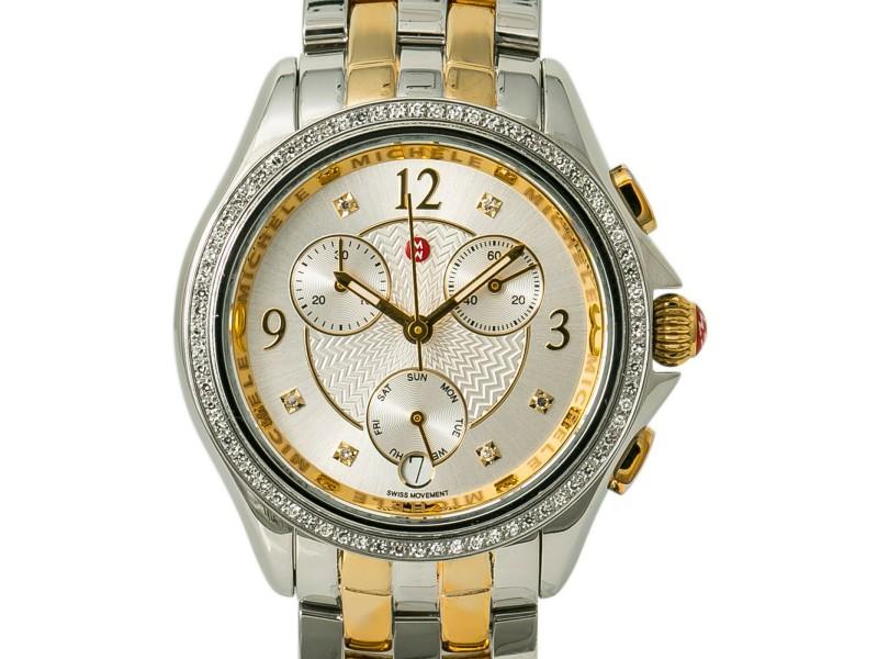 Michele Belmore  MW29B01C5018 Women Quartz Watch Chronograph Two Tone SS 34mm