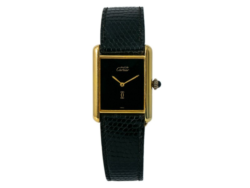 Cartier Tank Vermil G20M Ladies Hand Wind Watch W/B&P Gold Plated 925 23mm